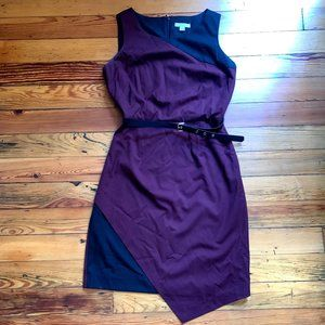 New York & Company Belted Purple and Black Dress
